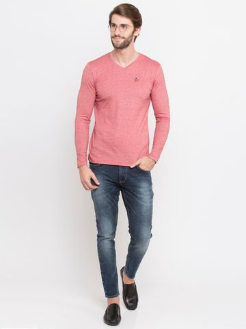 spykar | Spykar Pink Melange Slim Fit T-Shirts