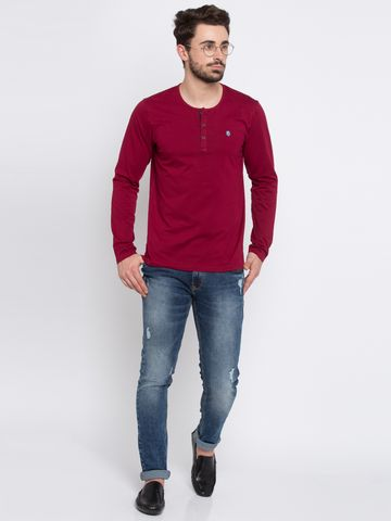spykar | Spykar Wine Solid Slim Fit T-Shirts