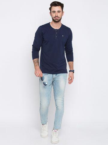 spykar | Spykar Navy Blue Solid Slim Fit T-Shirts