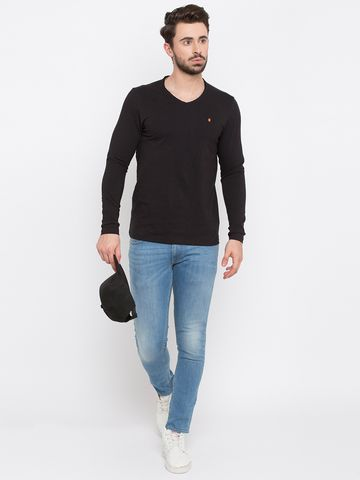 spykar | Spykar Black Solid Slim Fit T-Shirts