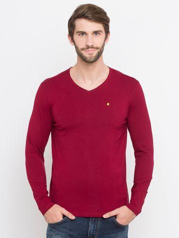 spykar | Spykar Pink Solid Slim Fit T-Shirts