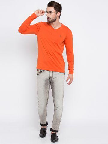 spykar | Spykar Orange Solid Slim Fit T-Shirts