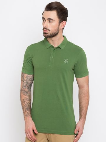 spykar | Spykar Green Solid Slim Fit Polo T-Shirt