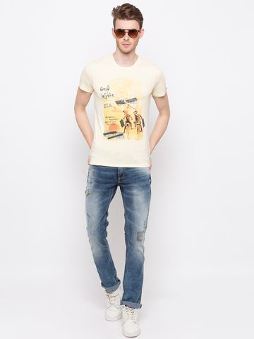 spykar | Spykar Cotton Yellow T-Shirts