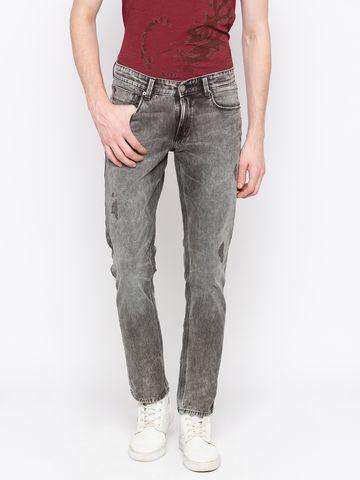 spykar | Spykar Grey Ripped Skinny Fit Jeans