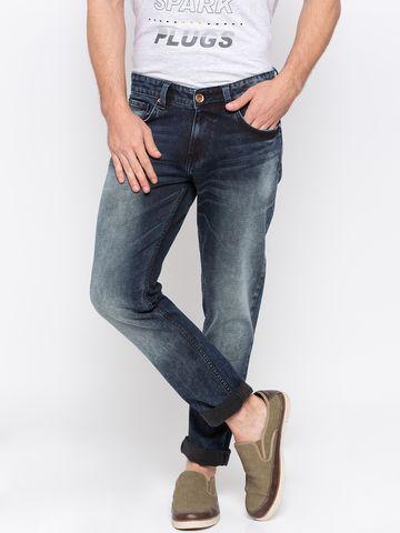 spykar | Spykar Dark Blue Solid Skinny Fit Jeans