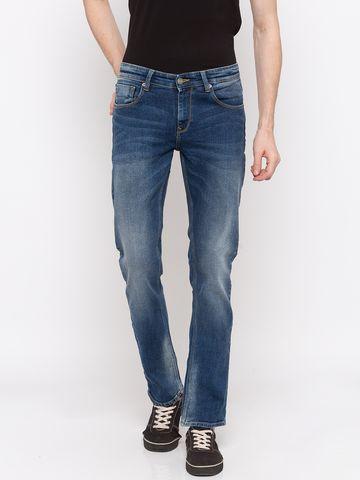 spykar | Spykar Mid Blue Solid Regular Fit Jeans