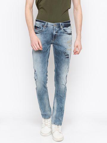 spykar | Spykar Mid Blue Ripped Skinny Fit Jeans
