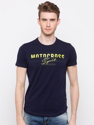 spykar | spykar Navy Printed Slim Fit T-Shirt