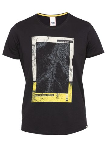 spykar | Spykar Jet Black Printed Slim Fit T-Shirts