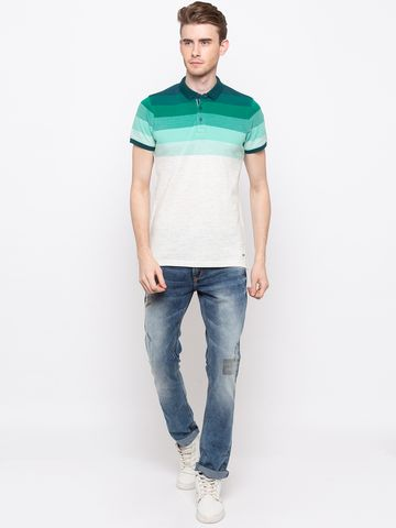 spykar | Spykar Green & White Colourblock Slim Fit Polo T-Shirt