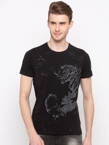 spykar | Spykar Black Printed Slim Fit T-Shirts