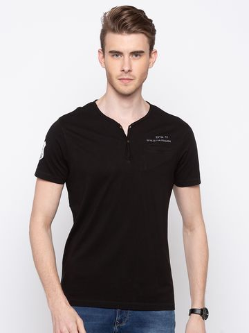 spykar | Spykar Jet Black Solid Slim Fit T-Shirts