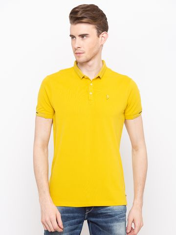 spykar | Spykar Mustard Solid Slim Fit T-Shirts