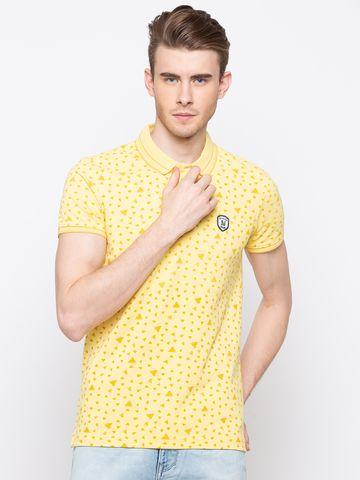 spykar   spykar Yellow Cotton T-Shirts