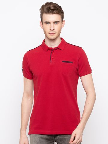spykar | Spykar Red Solid Slim Fit T-Shirts