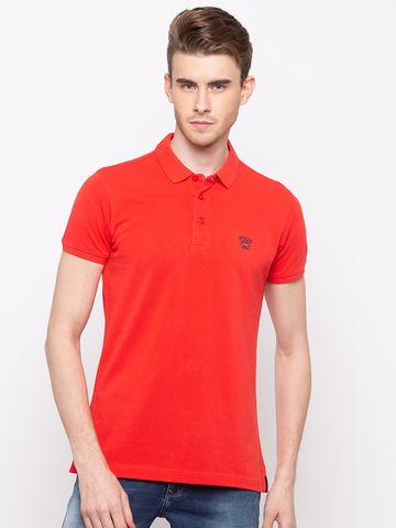spykar | Spykar Coral Solid Slim Fit Polo T-Shirt