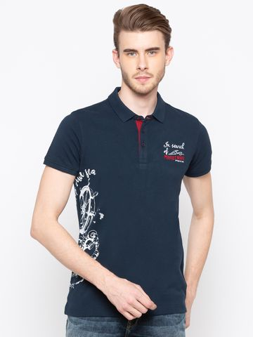 spykar   Spykar Navy Printed Slim Fit Polo T-Shirt
