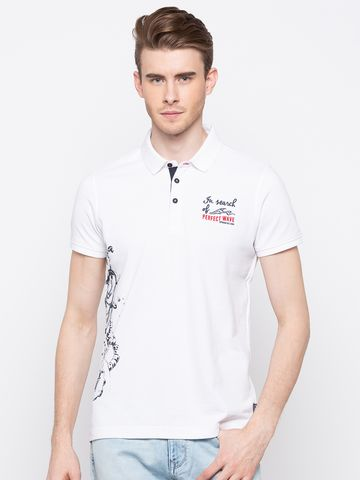 spykar | Spykar White Printed Slim Fit Polo T-Shirt