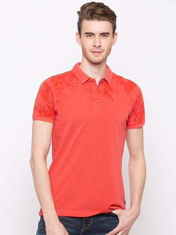 spykar | Spykar Pastle Orange Solid Slim Fit T-Shirts