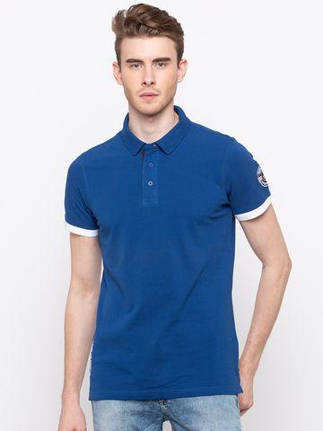 spykar | Spykar Royal Blue Solid Slim Fit Polo T-Shirt