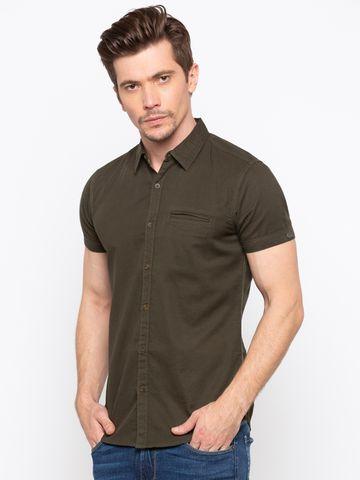 Spykar   spykar Dark Olive Solid Slim Fit Casual Shirt