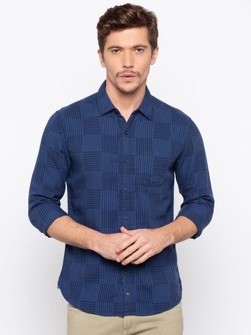 spykar | spykar Navy Checked Slim Fit Casual Shirt