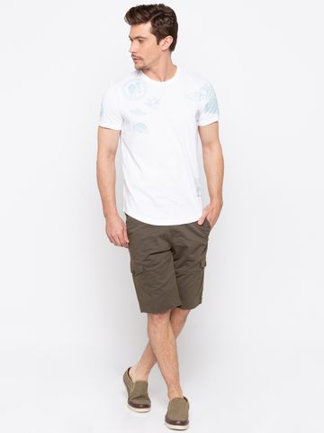 spykar | Spykar Olive Solid Slim Fit Shorts