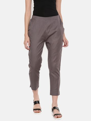 De Moza   De Moza Ladies Cigarette Pant Woven Bottom Solid Cotton Flex Dark Grey