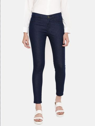 De Moza | De Moza Women's Jeans Pant Solid Denim Raw Blue
