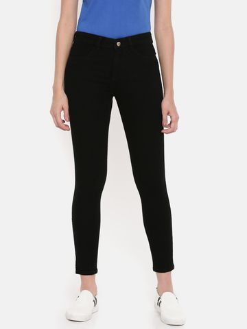 De Moza | De Moza Women's Jeans Pant Solid Denim Black
