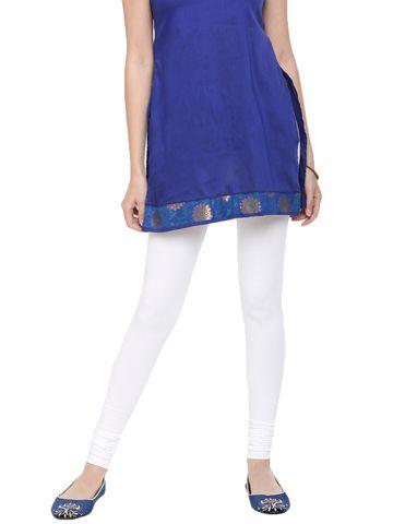 De Moza   De Moza Women's Chudidhar Leggings Solid Cotton Lycra White