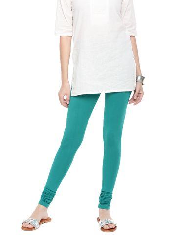 De Moza | De Moza Women's Chudidhar Leggings Solid Cotton Lycra Sea Green