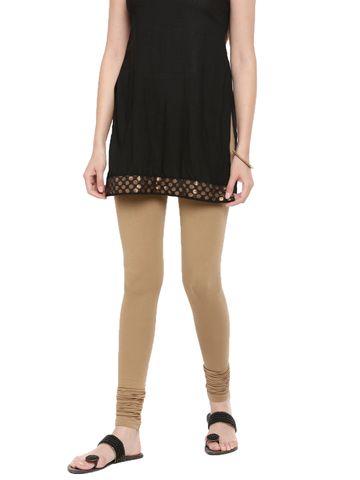 De Moza   De Moza Women's Chudidhar Leggings Solid Cotton Lycra Golden Beige