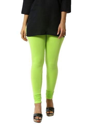 De Moza | De Moza Women's Chudidhar Leggings Solid Cotton Lycra Leaf Green