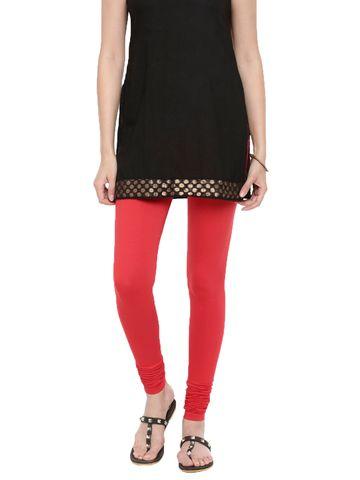 De Moza | De Moza Women's Chudidhar Leggings Solid Cotton Lycra Tomato Red