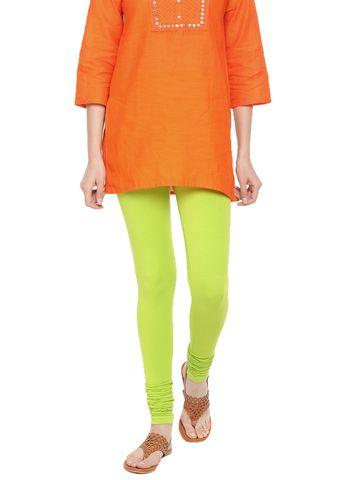De Moza | De Moza Women's Chudidhar Leggings Solid Cotton Lycra Lime