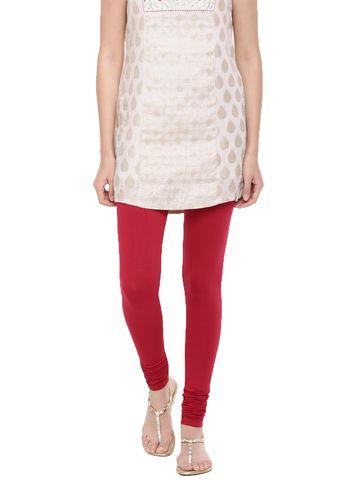 De Moza | De Moza Women's Chudidhar Leggings Solid Cotton Lycra Chilli Red