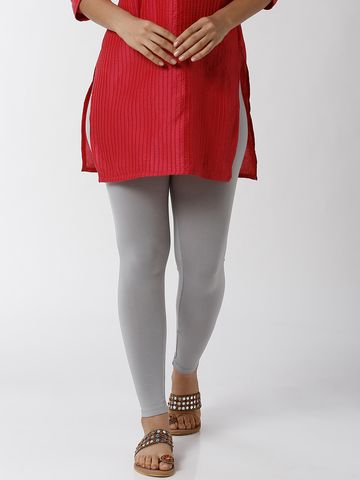 De Moza   De Moza Women's Ankle Length Leggings Solid Viscose Light Grey