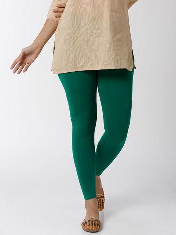 De Moza | De Moza Women's Ankle Length Leggings Solid Viscose Emerald Green