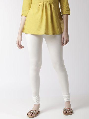 De Moza   De Moza Women's Chudidhar Leggings Solid Viscose Offwhite