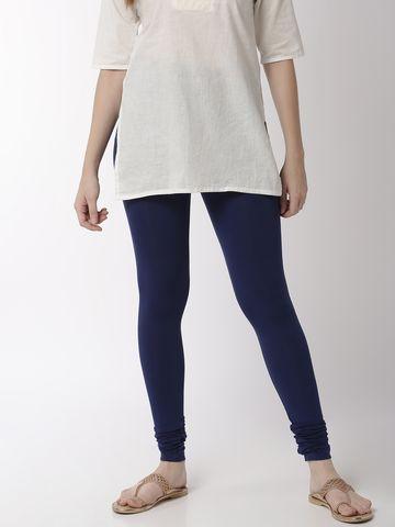 De Moza   De Moza Women's Chudidhar Leggings Solid Viscose Navy Blue