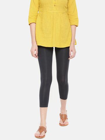 De Moza   De Moza Women's 3/4Th Length Leggings Solid Viscose Dark Grey