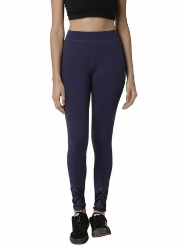 De Moza | De Moza Ladies Ankle Length Leggings Cotton Navy Blue
