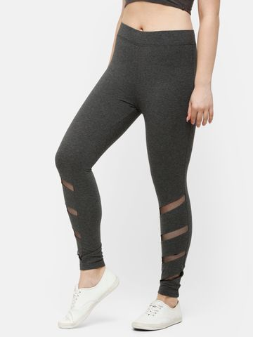 De Moza | De Moza Ladies Ankle Length Leggings Cotton Anthra Melange