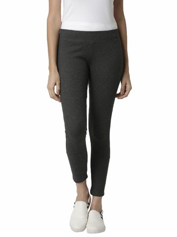 De Moza | De Moza Ladies Ankle Length Leggings Solid Cotton Anthra Melange