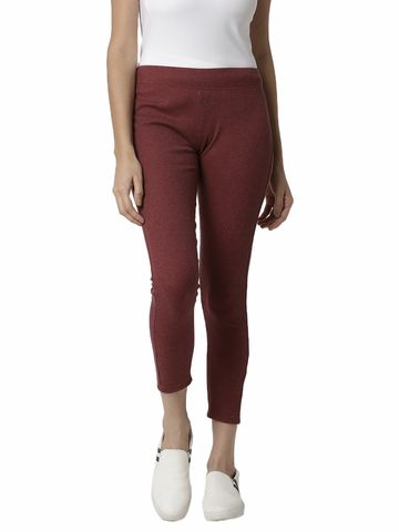 De Moza | De Moza Ladies Ankle Length Leggings Solid Cotton Maroon Melange