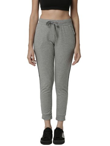 De Moza | De Moza Ladies Jogger Solid Cotton Grey Melange