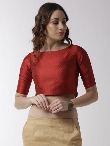 De Moza | De Moza Ladies Crop Top Jaquard Polyester Red