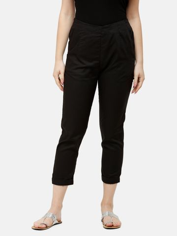 De Moza | De Moza Ladies Cigarette Pant Woven Bottom Solid Viscose Black